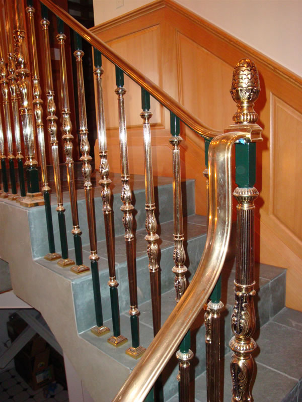 commercial and residential    brass rail stair turn 2 jpg